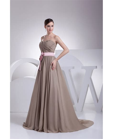 Brown and Pink Sash Long Chiffon Wedding Dress Custom #