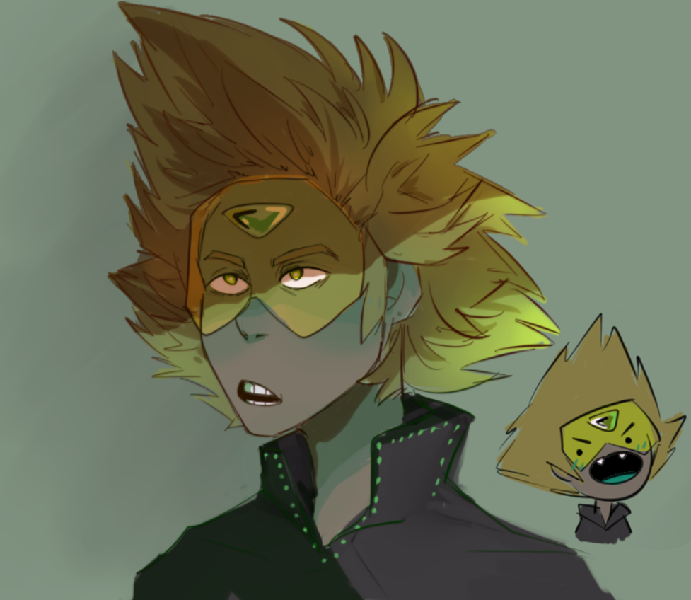 uhhhh heres the peridot i made up this morning she works for yellow diamond, hates her job, sneaks around a lot and is extremely prone to screeching and shes gay