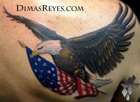 Color Bald Eagle With American Flag Tattoo By Dimas Reyes Tattoos