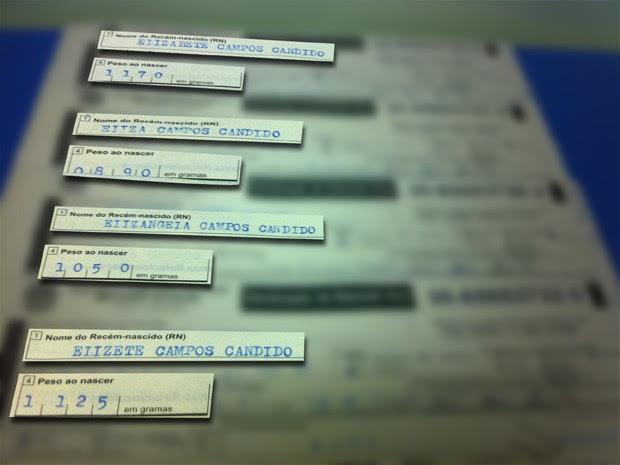 Registro de nascimento dos quatro bebês (Foto: Gabriela Pavão/ G1 MS)