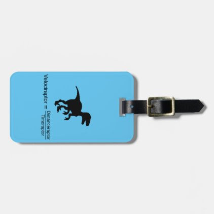 velociraptor funny science bag tag