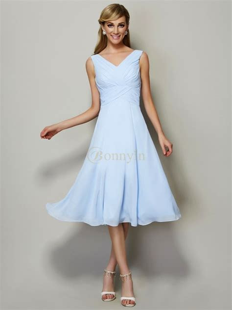 Light Sky Blue Chiffon V neck A Line/Princess Tea Length
