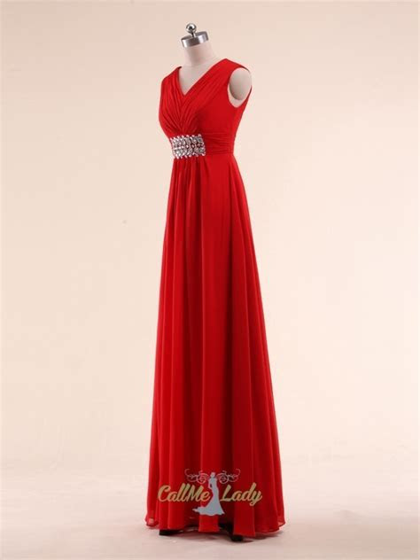 Simple straps red maxi dresses bridesmaid dresses