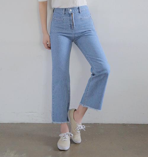 [Stylenanda] Welt Pocket Accent High Waist Jeans