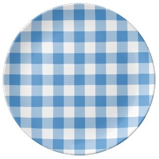 Light Blue and White Gingham Pattern Porcelain Plates