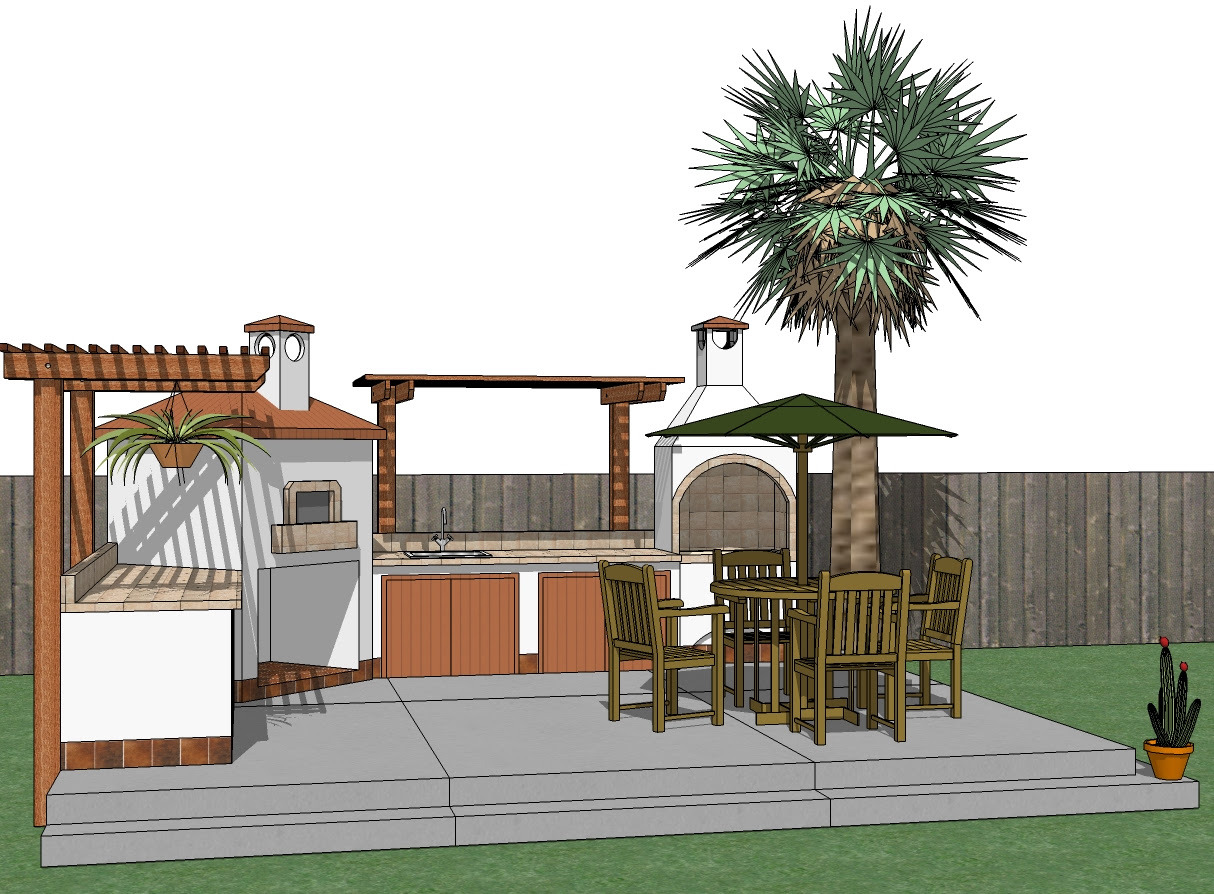 Wood BBQ Grill Outdoor Kitchens