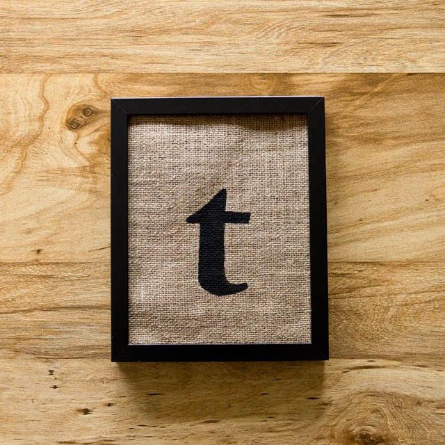 SALE Letter T burlap wall decor alphabet art initials by laxtoyvr