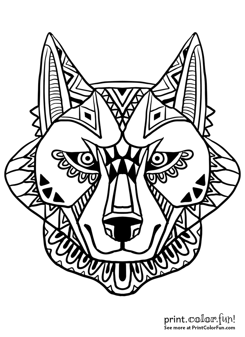 Abstract wolf face design coloring page - Print. Color. Fun!