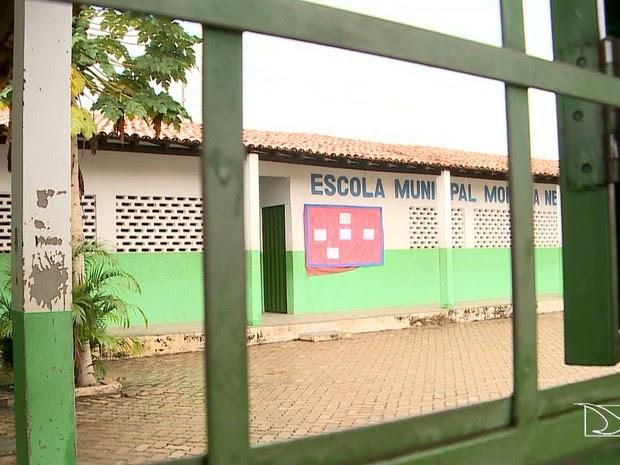 Aulas foram suspensas na Escola Municipal Moreira Neto em Imperatriz (MA) (Foto: Reprodução/TV Mirante)