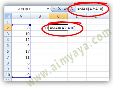 Gambar: Contoh cara mencari nilai tertinggi dengan menggunakan fungsi MAX() microsoft excel