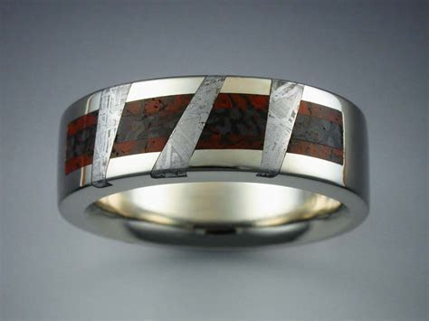 14k White Gold Ring with Dinosaur Bone & Meteorite
