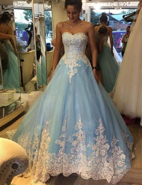 New Design Light Blue Sweetheart Wedding Dress Charming