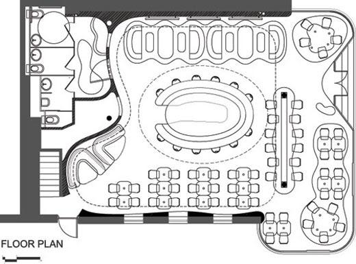 Curved Restaurant Floor Plan | IREMOZN- CAFE & BAR & RESTAURANT DESIGN