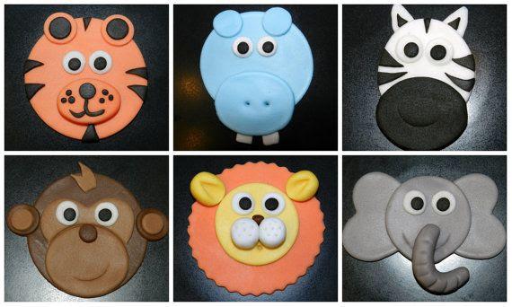 12 Safari Cupcake Toppers Edible Fondant Jungle Animals | Cupcake ...