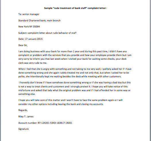 Rude Treatment Of Bank Staff Complaint Letter Smart