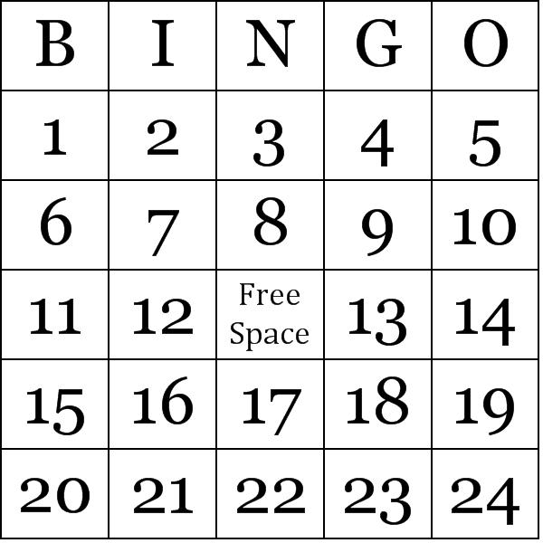 Numbers 1-75 Bingo Cards