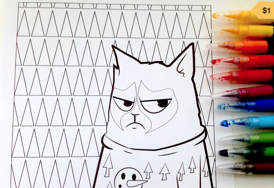 Colour your stress away Grumpy Cat Printables