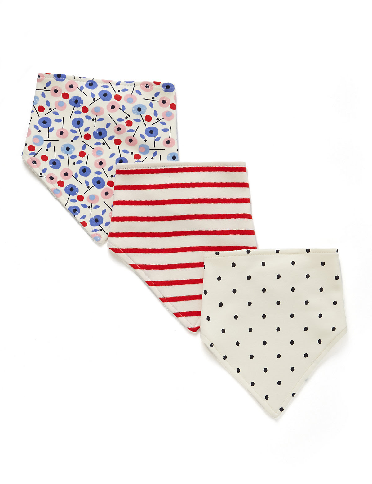 3 Pack Pure Cotton Nautical Assorted Dribble Bibs