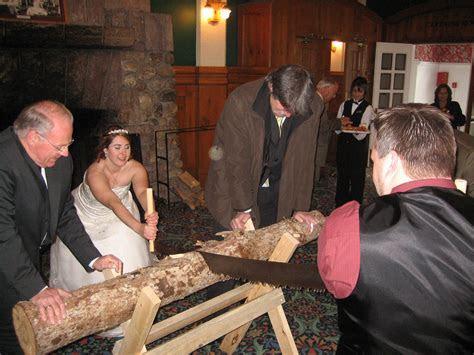 german wedding tradition log cutting ceremony ? Oh God, My