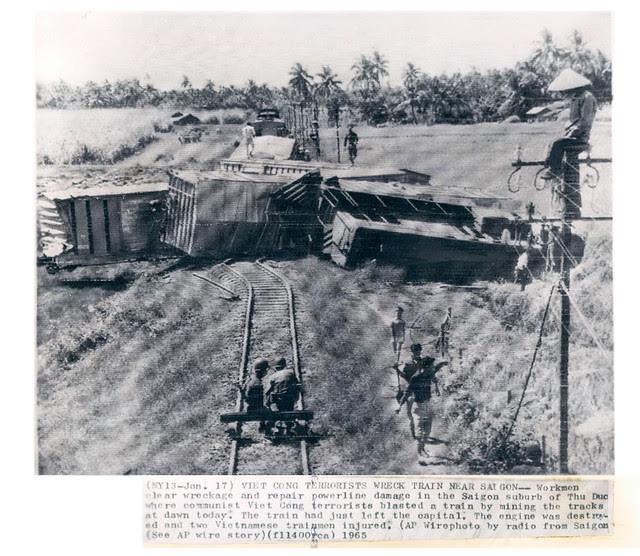Saigon 1965 - Viet Cong Terrorists Wreck a Train Near Saigon