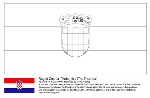 Dibujo De Bandera De Croacia Para Colorear Dibujos Para Colorear