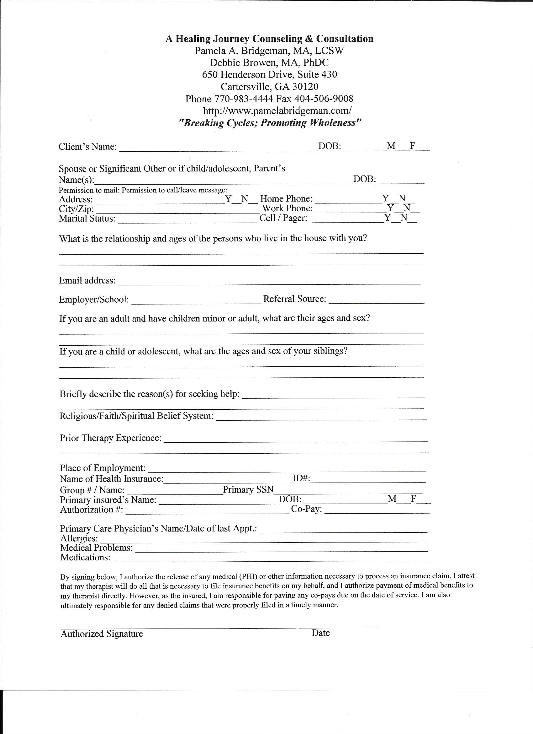 NEW CONSENT FORM FOR COUNSELING