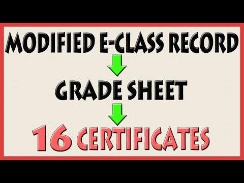 Automatic | E-Class Record to Grade Sheet to 16 Beautiful Certificate Templates