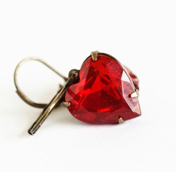 Valentines Earrings - Vintage Red Heart Glass Jewel Earrings