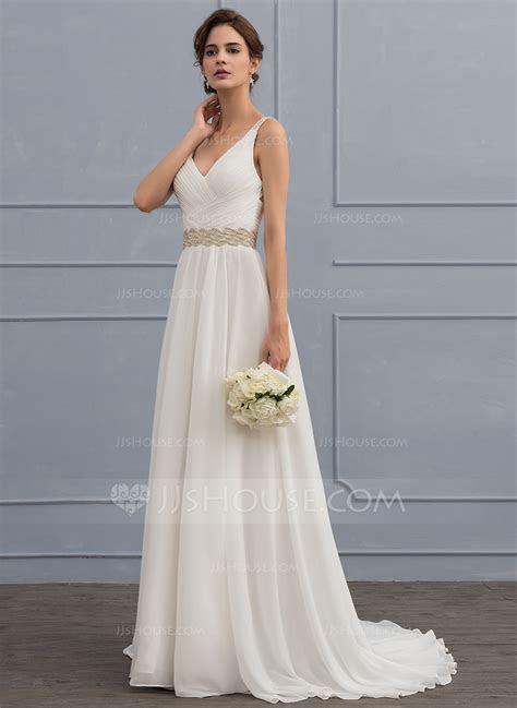A Line V neck Sweep Train Chiffon Wedding Dress With