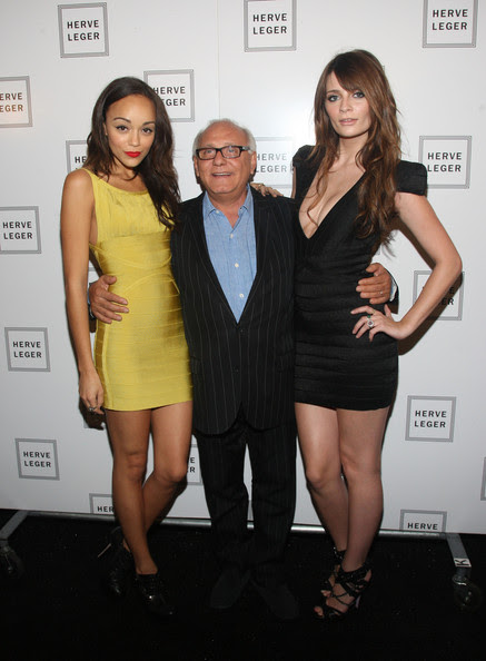 Max Azria Actresses Ashley Madekwe (L) and Mischa Barton (R) pose with designer Max Azria at the Herve Leger Spring 2010 Fashion Show at the Promenade at Bryant Park on September 13, 2009 in in New York City.
