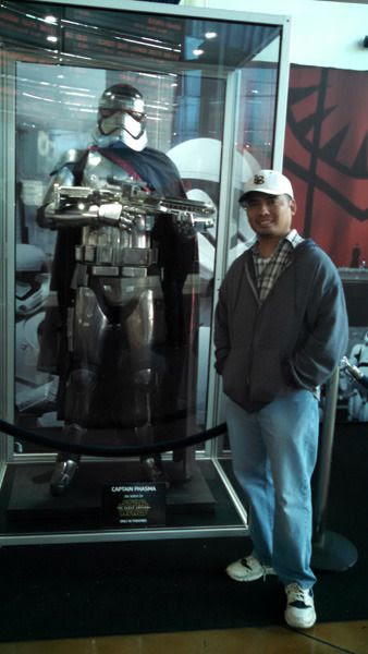 Posing with the Captain Phasma suit worn by Gwendoline Christie in STAR WARS: THE FORCE AWAKENS...at ArcLight Cinemas in Hollywood.