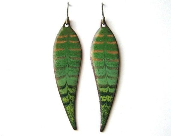 Green leaf earrings - Copper enamel earrings dangle from titanium earring hooks