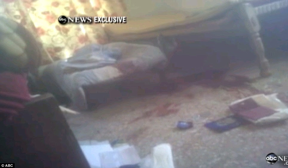 Carnage: Blood can be seen on the floor from where Bin Laden was reportedly surrounded by three men, including his son, and a woman who formed a human shield against U.S. troops