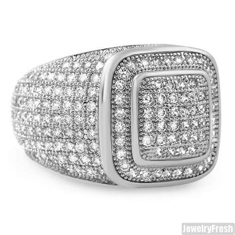 White Gold Finish 360 Iced Out Championship Mens CZ Ring
