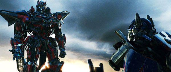 Sentinel Prime confronts Optimus Prime in TRANSFORMERS: DARK OF THE MOON.