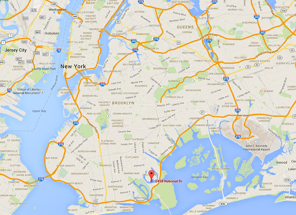 For those who don't know where that is, it's in deep Brooklyn — far, far away from Manhattan.