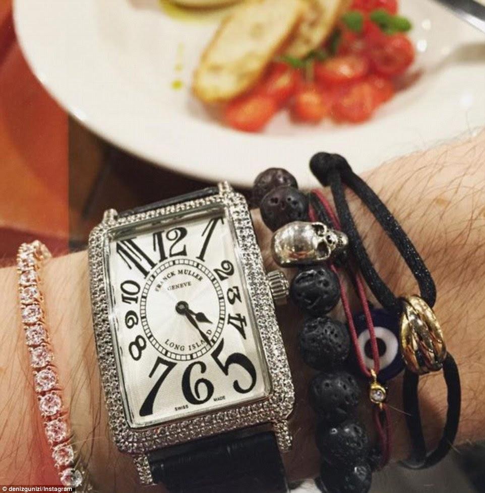 Makeup artist and hair stylist Deniz Gunizi's new Franck Muller diamond encrusted watch, which runs upward $13,000