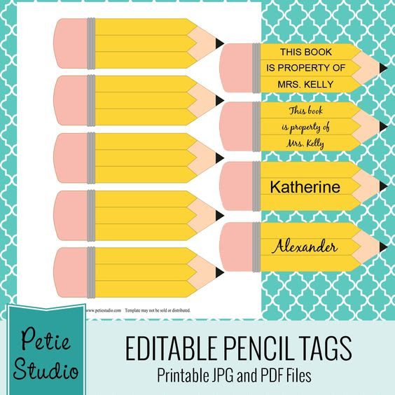 Free printable pencil tags for classroom use and craft projects. 4 ...