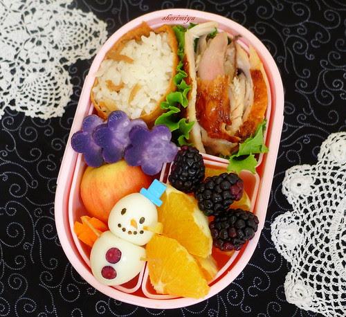 Quail Egg Snowman Bento by sherimiya ♥