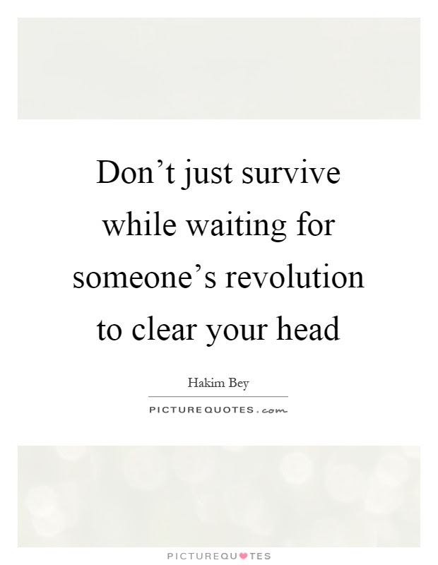 Dont Just Survive While Waiting For Someones Revolution To