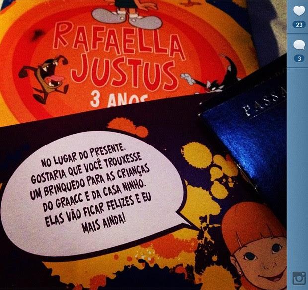 Ego Convite De Festa De Rafa Justus Pede Doação Em Vez De Presente