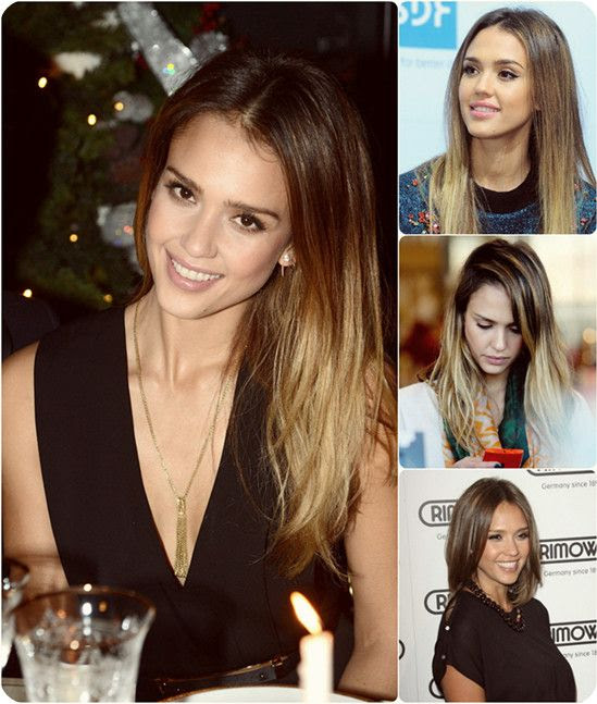 Jessica Alba smooth silky brown ombre hairstyle with cheap long human hair extension