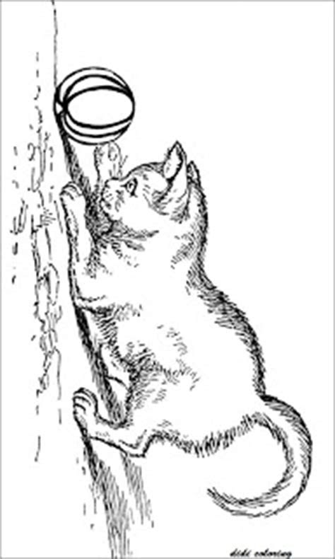 printable jolly cat chasing  ball coloring page