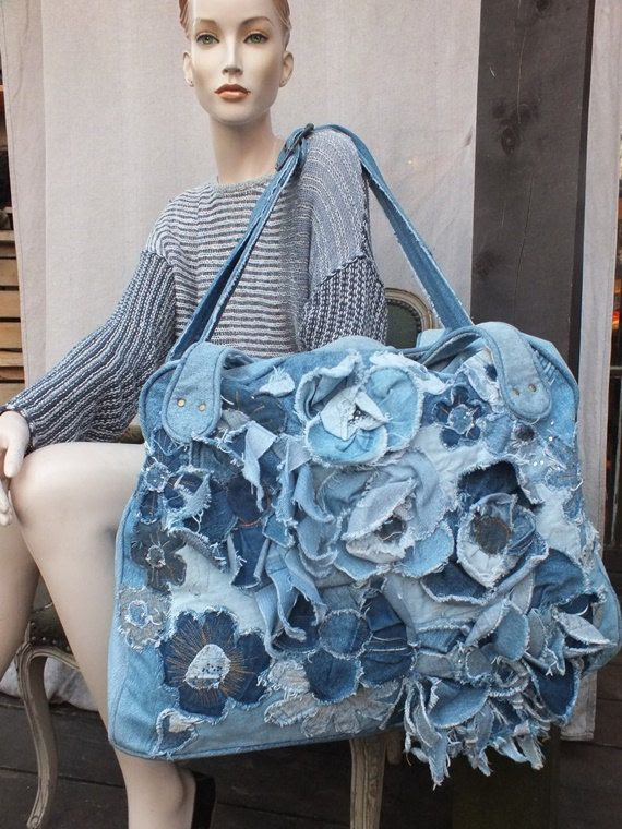 DENIM TRAVEL BAG Big bag with recycled от JARMOLOWSKA на Etsy