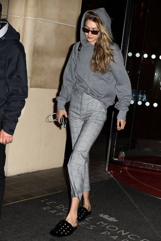 Le Fashion Blog Gigi Hadid Sunglasses Gray Hoodie Gray Plaid Pants Black Mule Slides Via Harpers Bazaar