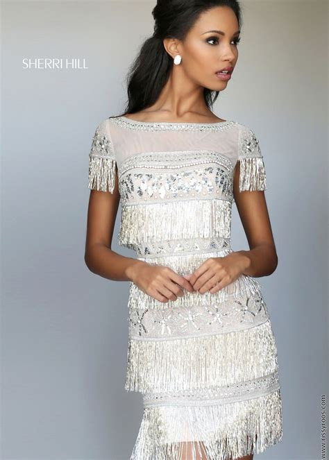 Sherri Hill 50541 Fringe Beaded Cocktail Dress   RissyRoos.com