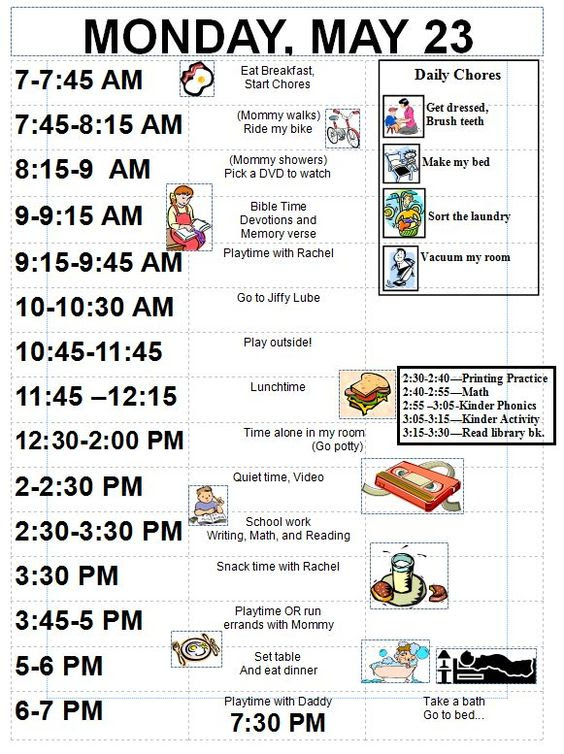 Daily Schedule For 4 5 Year Olds | Daily Planner