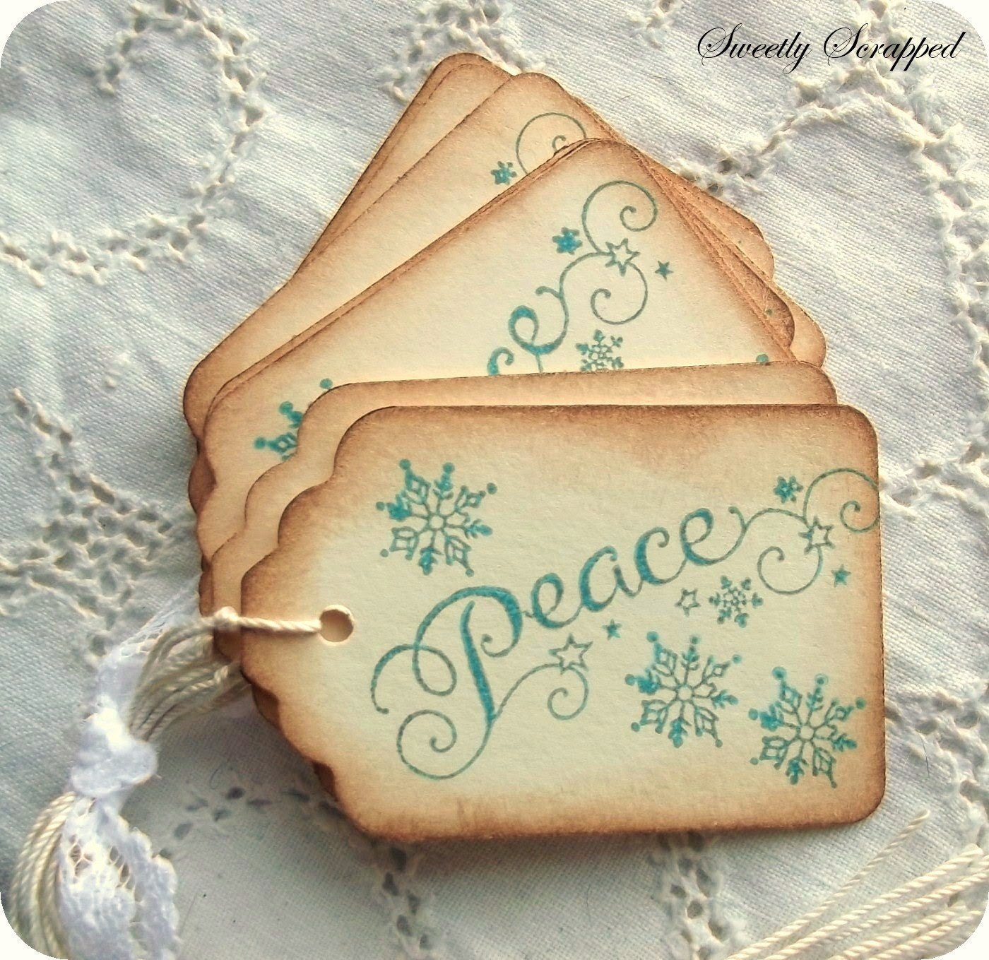 Peace in Winter Snowflake Hang Tags - Gift Tags, Favors and more