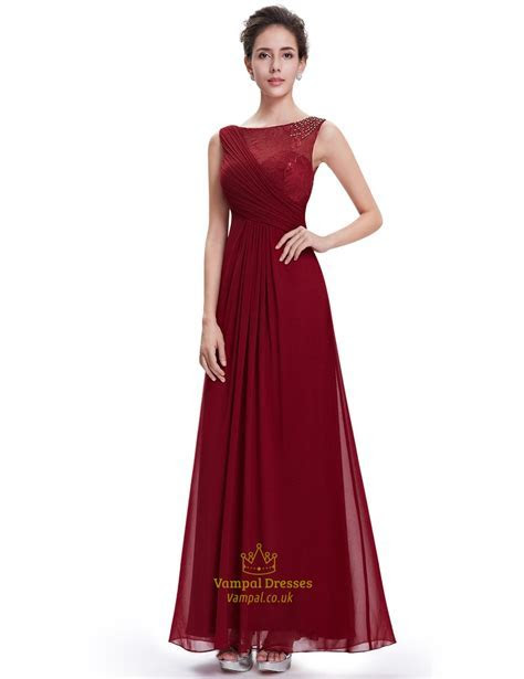 Burgundy Lace Top Chiffon Long Bridesmaid Dresses With