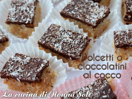 Dolcetti o cioccolatini al cocco